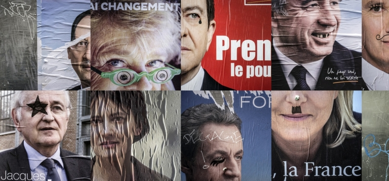 <p>A composite photo of doctored campaign posters in Lyon, France. Many in Europe worry the French aren't taking their election seriously enough.</p>