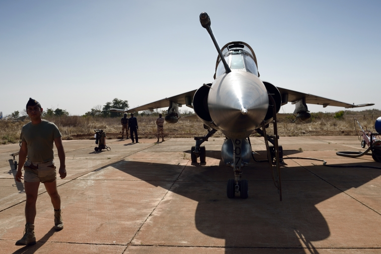 <p>A French soldier near a Mirage fighter jet near Bamako, Mali. Islamist groups have warned France has