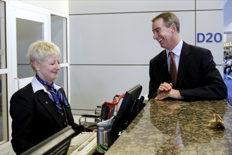 <p>Thomas W. Horton, who was recently appointed by the board of directors of AMR Corp. to replace retiring chief executive Gerard Arpey, greets AA employees at DFW Airport.</p>