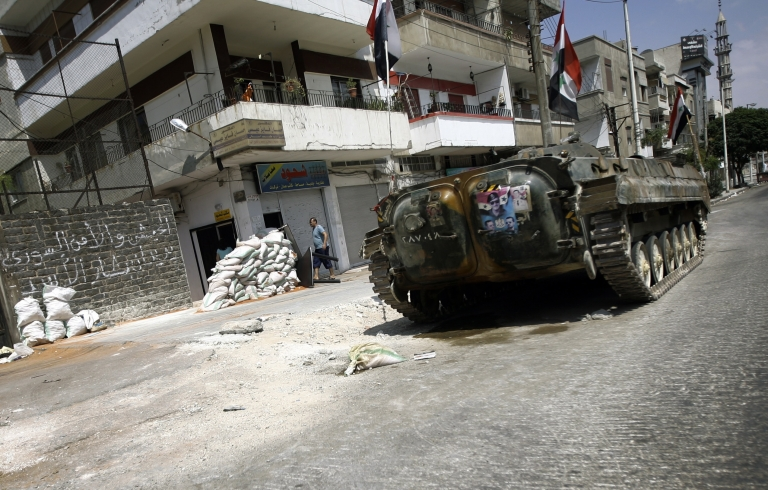<p>Violence continues in Homs, as 13 civilians were killed Saturday from tank fire.</p>