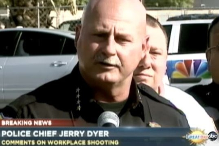 <p>Fresno Police Chief Jerry Dyer speaks to the media about a shooting at a local chicken plant Nov. 6, 2012, that left 3 people dead, including the gunman.</p>