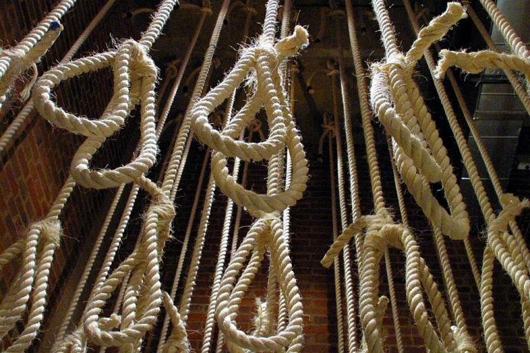 <p>Part of 131 nooses displayed in Johannesurg's Apartheid Museum. Traditionally, there are 13 knots in a hangman's rope--one reason why people fear the number 13.</p>