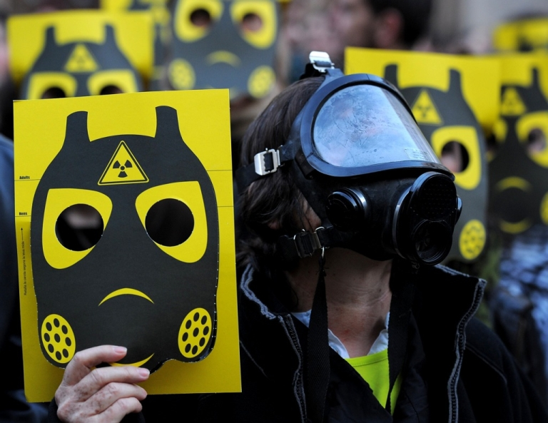 <p>Anti-nuclear activists demonstrate on March 17 in Barcelona, Spain in reaction to the Fukushima nuclear accident in Japan. The debate over nuclear safety has  reignited worldwide, as workers in Fukushima desperately seek to prevent a nuclear meltdown.</p>