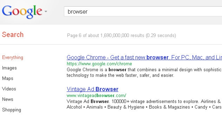 <p>At the time of writing, Chrome did not appear until page six of Google search results for