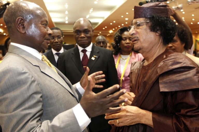 <p>Ugandan President Yoweri Museveni, left, speaks with Libyan leader Muammar Gaddafi at the African Union Summit in Kampala, on July 27, 2010, where 30 heads of state from the AU's 53 members gathered for three days amid unprecedented security in the Ugandan capital.</p>