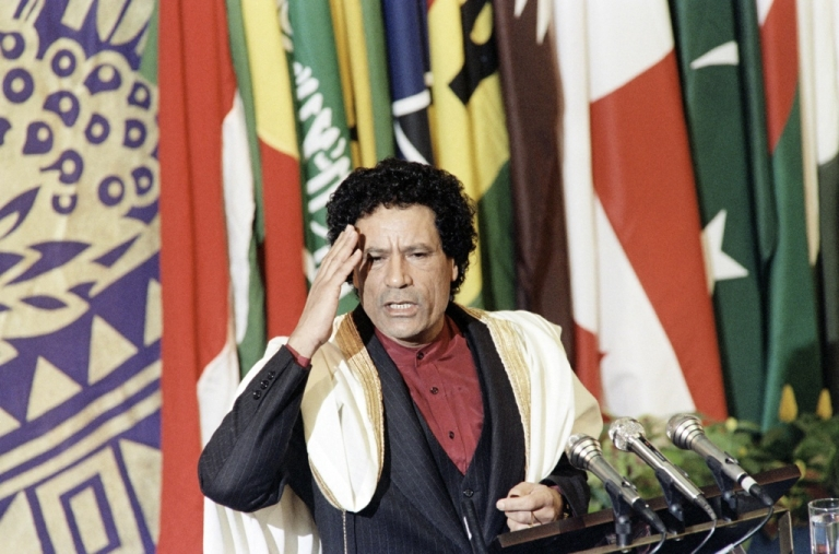 <p>Libyan leader Muammar Gaddafi speaks to members of the non-aligned countries summit, on Sept. 4, 1986 in Harare, Zimbabwe.</p>