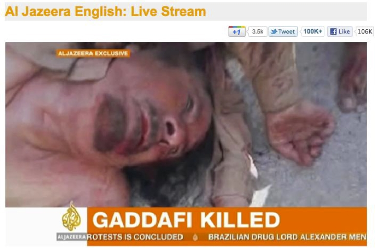 <p>A screen grab from Al Jazeera of a video said to show Muammar Gaddafi's body. Gaddafi is dead after being wounded during his capture in Sirte, Libya, on October 20, 2011, according to unconfirmed reports.</p>