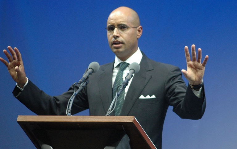 <p>Saif al-Islam Gaddafi, the son of Libyan leader Muammar Gaddafi, gives a speech in Benghaz, in 2007.</p>