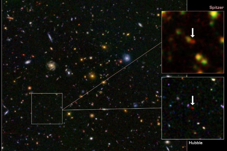 <p>A composite photograph of the galaxy GN-108036 from the Hubble and Spitzer telescopes.</p>