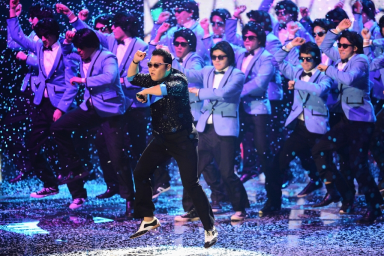 <p>Psy performs 'Gangnam Style' onstage at the MTV EMA's 2012 at Festhalle Frankfurt on Nov. 11, 2012, in Frankfurt am Main, Germany.</p>