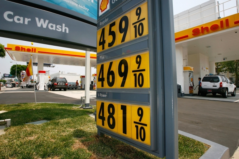 <p>Gas prices climb to the $5 mark at a Shell station in California in 2008.</p>