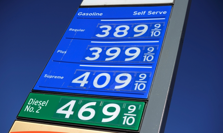 <p>Gas prices are displayed at a Chevron gas station on January 18, 2012 in Los Angeles, California.</p>