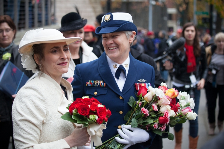 <p>Nancy Monahan, right, a retired Coast Guard petty officer, shares a laugh with her wife, Deb Needham, after their wedding at City Hall on December 9, 2012 in Seattle, Washington. December 9th was the first day that same-sex couples can legally wed in Washington state.</p>