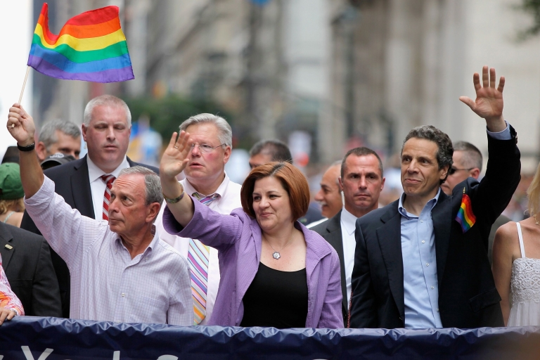 <p>New York City Mayor Michael Bloomberg marches with City Council Speaker Christine C. Quinn and New York Governor Andrew Cuomo during the 2011 NYC LGBT Pride March on the streets of Manhattan, New York City.</p>