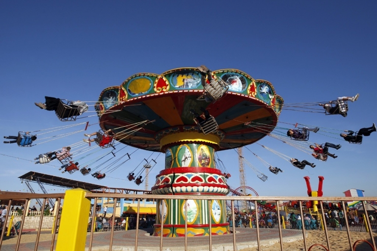 <p>Palestinians at an amusement park in Gaza City.</p>