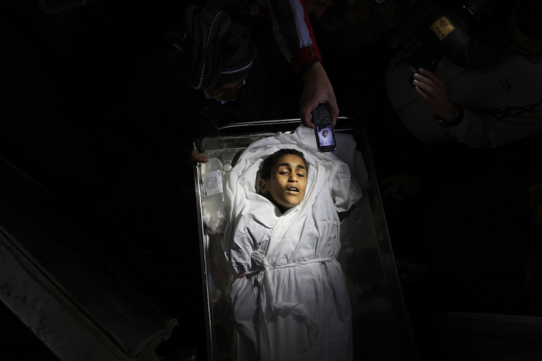 <p>The body of Palestinian boy Ayoub Asaly, killed in the recent round of violence in the Gaza Strip.</p>