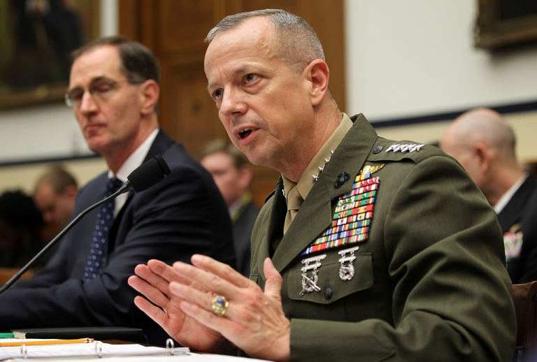 <p>US Marine General John Allen (R), the chief US and NATO commander in Afghanistan, and Acting Defense Undersecretary and Principal Undersecretary for Policy James Miller (L) testify during a hearing before the House Armed Services Committee March 20, 2012 on Capitol Hill in Washington, DC. General Allen testified after the Qurans burning instance and the alleged killing of 16 Afghan civilians by a US soldier.</p>