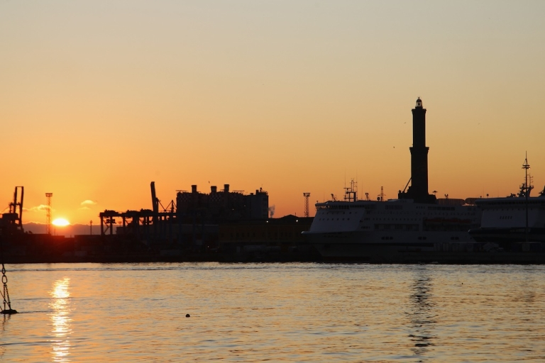 <p>A general view of the seaport and the 'Lanterna', the ancient and famous lighthouse of Genoa on Dec. 28, 2011 in Genoa, Italy.</p>