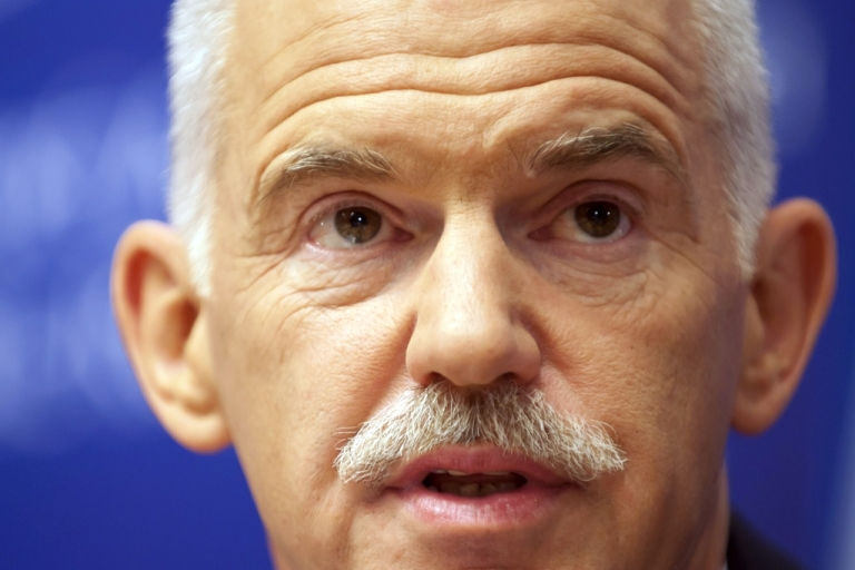 <p>Greek Prime Minister George Papandreou addresses a press conference at the end of a summit of the EU heads of State on June 24, 2011 in Brussels.</p>