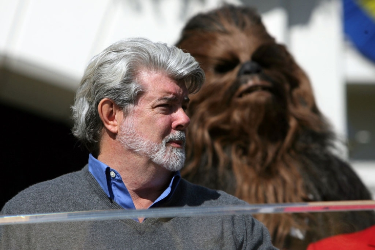 <p>George Lucas (left) and his