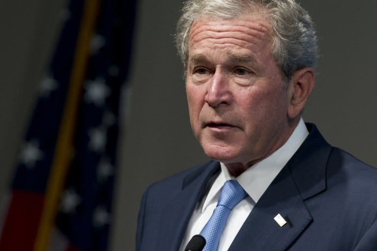 <p>Former US President George W. Bush speaks during an event celebrating the successes of dissidents and activists from around the world, hosted by the George W. Bush Presidential Center in Washington, DC, May 15, 2012.</p>