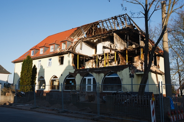 <p>The burnt-out remains of the apartment in Zwickau, Germany, from where the gang planned their attacks.</p>