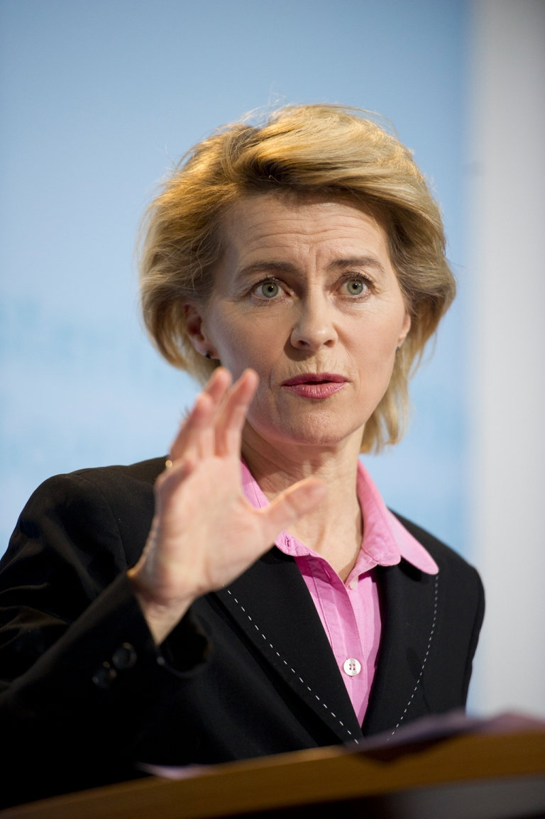 <p>German Labor minister Ursula von der Leyen makes a point at a press conference where she announced a post-reunification record low level of unemployment.</p>