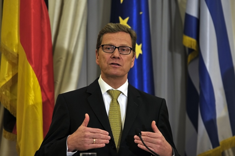 <p>German Foreign Minister Guido Westerwelle makes statements to the press at the Greek Foreign Ministry in Athens on January 15, 2012.</p>
