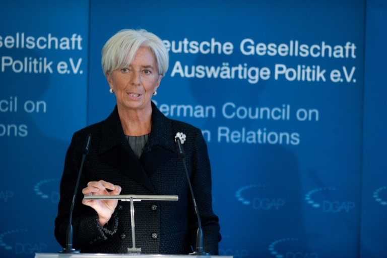 <p>International Monetary Fund (IMF) President Christine Lagarde addresses a conference in Berlin on Jan. 23, 2012. Lagarde called for a 'sustainable' deal for Greece, as talks on reducing the crisis-hit country's debt appeared to have hit a snag</p>