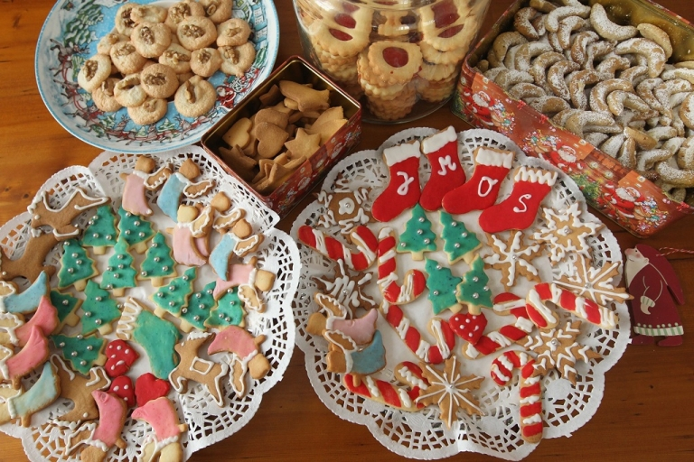 <p>Traditional, home-made Christmas cookies lie on plates in a household on December 21, 2010 in Berlin, Germany. Christmas cookies are an intrinsic part of Central European Christmas tradition and are usually baked at home according to recipes passed down through generations.</p>