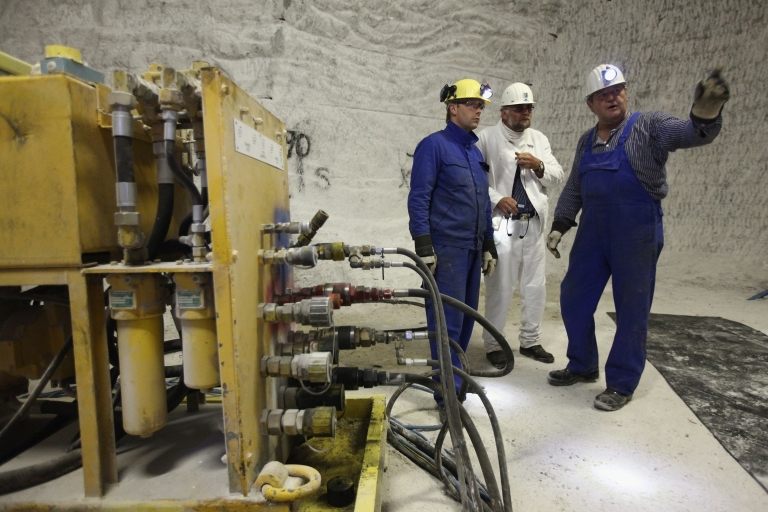 <p>Miners prepare to take geological samples in the Gorleben salt mines in Gorleben, Germany, on June 16, 2011.</p>
