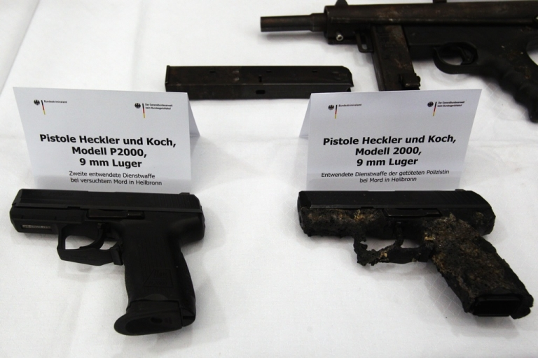 <p>Service revolvers from the crime scene where a police officer was killed in Heilbronn, later found by police at the former residence of neo-Nazis Uwe Mondlos and Uwe Boenhardt. The trial of their companion, Beate Zschaepe, has begun in Munich.</p>