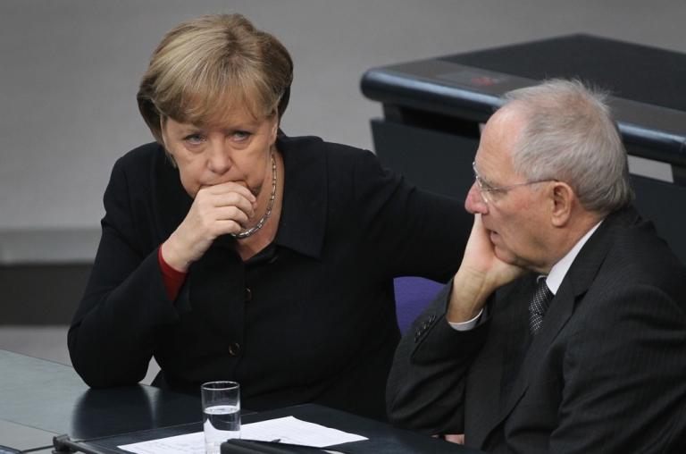 <p>German Chancellor Angela Merkel and Finance Minister Wolfgang Schaeuble are playing hardball.</p>