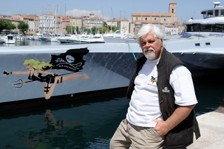 <p>Paul Watson, Canadian founder of the Sea Shepherd Conservation Society, a direct action group for marine conservation.  He has been arrested in Germany on a warrant issued by Costa Rica in 2002.</p>