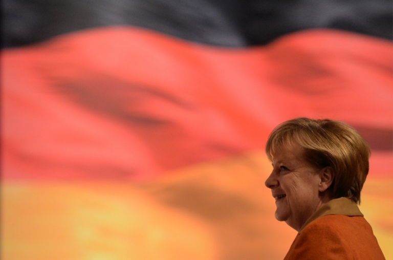 <p>German Chancellor Angela Merkel, the proud mother Germany's newest territorial gain.</p>
