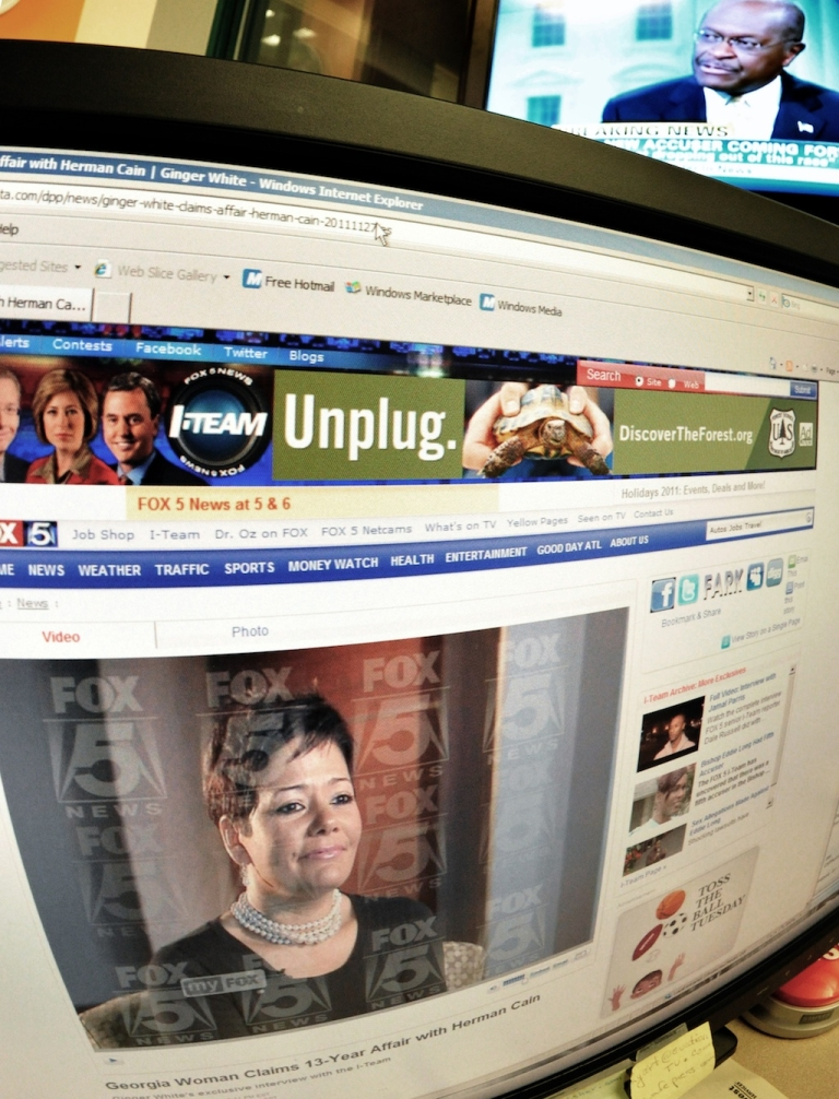 <p>A screen shot shows a photograph of Ginger White on the Fox 5 homepage.</p>