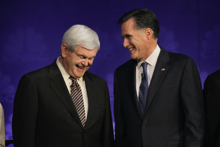 <p>Republican presidential candidates former Speaker of the House Newt Gingrich and former Massachusetts Gov. Mitt Romney chat before a debate hosted by CNBC and the Michigan Republican Party at Oakland University on Nov. 9, 2011, in Rochester, Mich.</p>