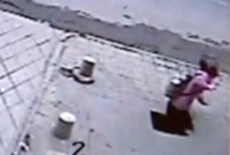 <p>A still image taken from video published by The Daily Telegraph shows the accident as it happened.</p>