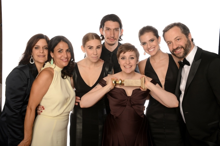 <p>(L-R) Executive Producer Ilene Landress, Writer/Producer Jennifer Konner, actress Zosia Mamet, actor Adam Driver, actress/writer Lena Dunham, Allison Williams and producer Judd Apatow of 'Girls' pose for a portrait at the 70th Annual Golden Globe Awards held at The Beverly Hilton Hotel on January 13, 2013 in Beverly Hills, California.</p>