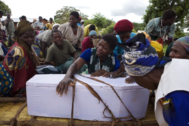 <p>The funeral of Gift, 3, who died of malaria in Malawi.</p>