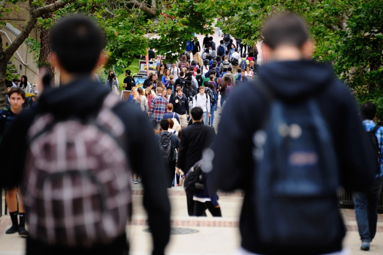 <p>Bernie Zak, an 18-year-old senior at Brookline High School, was placed on the wait-list to get into UCLA but was later accepted after a Twitter campaign. This image shows students walking across the campus of UCLA in Los Angeles, California.</p>