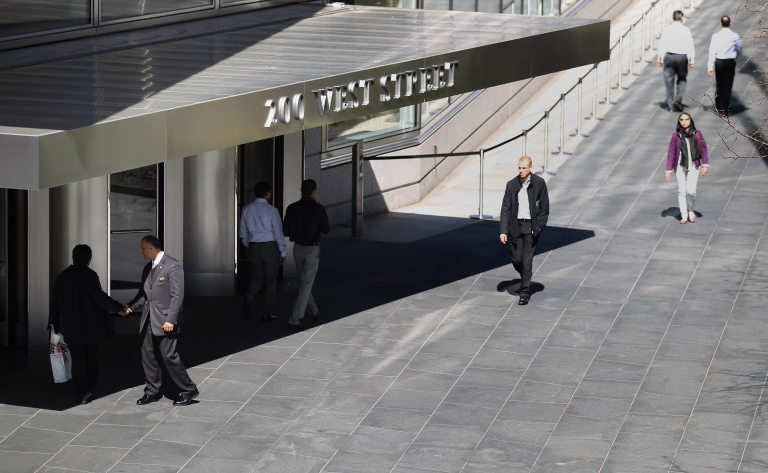 <p>NEW YORK, NY - MARCH 14: People walk past Goldman Sachs headquarters on March 14, 2012 in New York City. Former Goldman Sachs executive director Greg Smith wrote a scathing editorial about the company while resigning in yesterday's New York Times.</p>