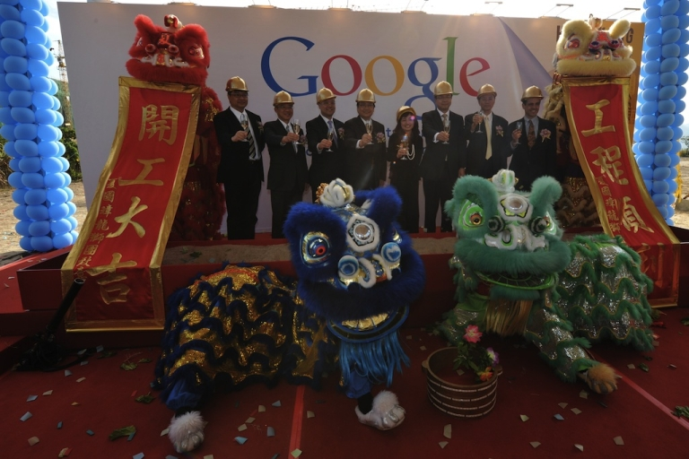 <p>Google has launched a new anti-censorship feature from its Hong Kong-based search site for its services in China. Here Google executives and the Hong Kong Government participate in a ground breaking ceremony for Google's Hong Kong Data Center on December 8, 2011.</p>