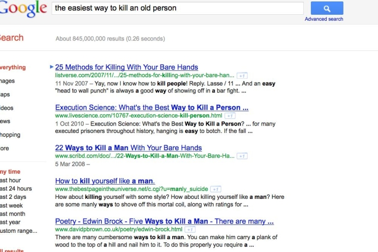 <p>The results of a Google search on