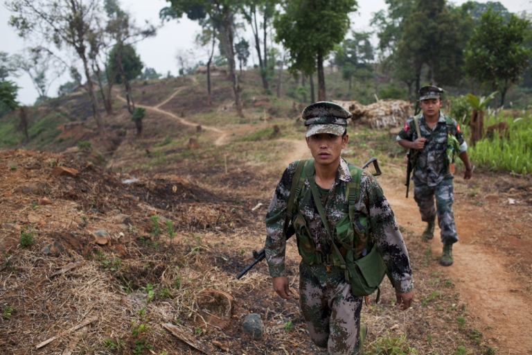 <p>Kachin Independence Army soldiers in Kachin state, Myanmar.</p>