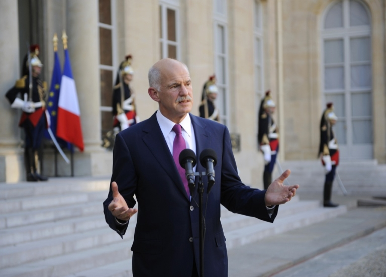 <p>Greek Prime minister George Papandreou gives a speech after a working meeting with French President Nicolas Sarkozy at the Elysee palace on September 30, 2011 in Paris.</p>
