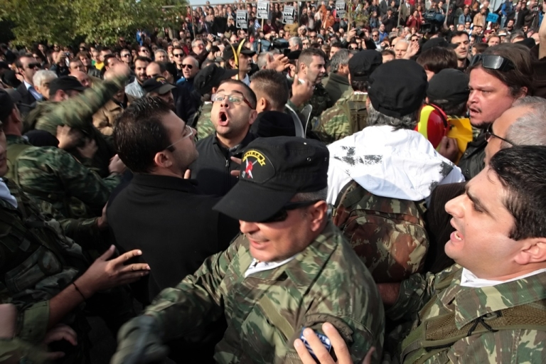 <p>Thousands of Greek anti-austerity protesters blocked a military parade on Friday Oct. 28 in Thessaloniki, forcing the president to walk away minutes before the start of the annual event. Anti-austerity protesters hurled water bottles and eggs toward officials.</p>