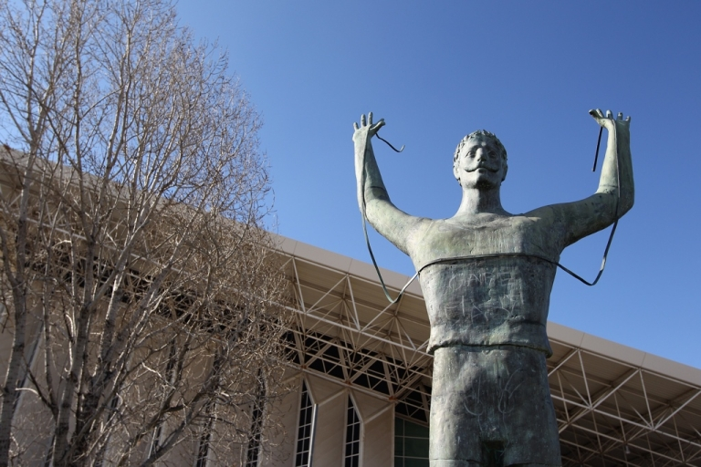 <p>A victory statue in Athens. Greece can stave off default for now.</p>