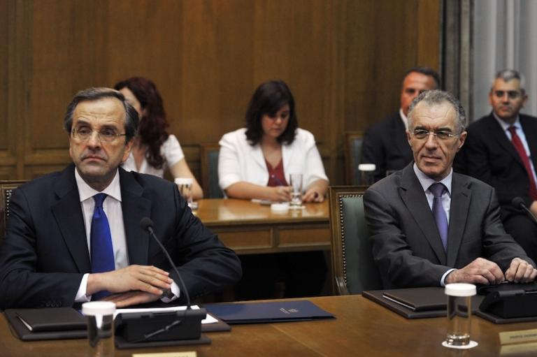<p>Prime Minister Antonis Samaras and Finance Minister Vassilis Rapanos are both in hospital.</p>