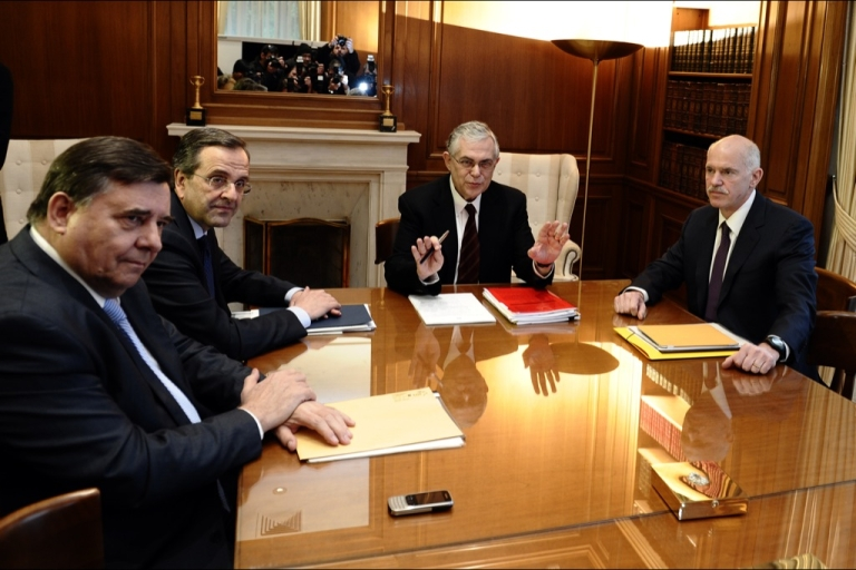 <p>Greek Prime Minister Papademos and leaders of Greece's main political parties before their meeting today in Athens.</p>
